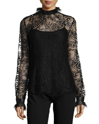 Tamara Mellon Butterfly Lace Turtleneck Blouse Black