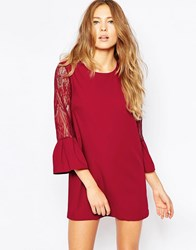 Jovonna Moonphase Dress With Lace Sleeves Wine Red