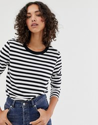 Selected Femme Long Sleeve Stripe Tee Black