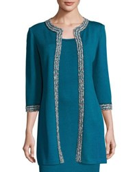 St. John 3 4 Sleeve Santana Knit Long Jacket Blue Pattern
