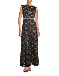 Alex Evenings Petite Embellished Waist A Line Gown Black Nude