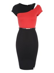Jane Norman Black And Coral Belted Colourblock Dress Multi Coloured Multi Coloured