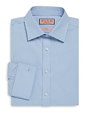 Thomas Pink Classic Fit Houndstooth Dress Shirt Light Blue