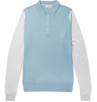 John Smedley Hindlow Two Tone Merino Wool Sweater Blue