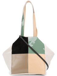 Carmina Campus Colour Block Patch Tote Nude And Neutrals