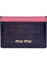 Miu Miu Madras Crocodile Embossed Cardholder Blue
