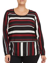 Junarose Vinna Long Sleeve Striped Roundneck Blouse Black Multi