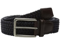 Torino Leather Co. Italian Woven Cotton And Leather Elastic Navy Men's Belts