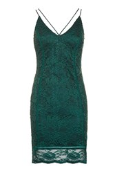 Topshop Strappy Plunge Lace Camisole Dress Teal