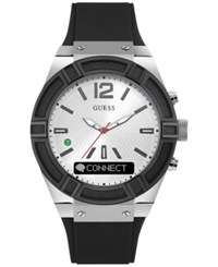Guess Men's Connect Black Silicone Strap Smart Watch 45Mm C0001g4 Black Silver