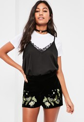 Missguided Black Velvet Floral Embroidered Shorts