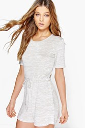 Boohoo Casual Relaxed Fit Knitted Playsuit Stone
