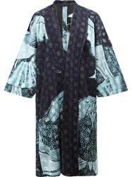 Homme Plisse Issey Miyake Abstract Print Kimono Coat Blue