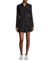 A.L.C. Pedro Long Sleeve Silk Star Shirtdress Black