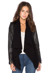525 America Leather And Sweater Envelope Cardigan Black