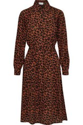 Antik Batik Gart Belted Leopard Print Silk Shirt Dress Animal Print