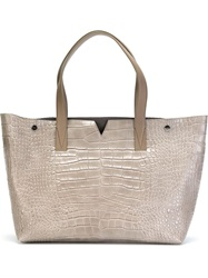 Vince Stamped Crocodile Tote Bag Grey