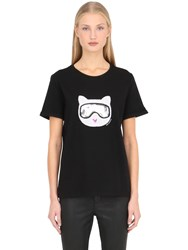 Karl Lagerfeld Furry Winter Choupette Cotton T Shirt