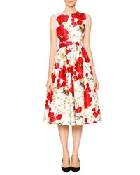 Dolce And Gabbana Poppy And Daisy Open Back Party Dress Red Black White White Floral