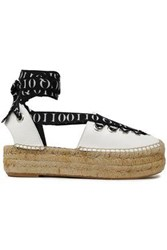 Mcq By Alexander Mcqueen Printed Grosgrain Trimmed Leather Platform Espadrilles White