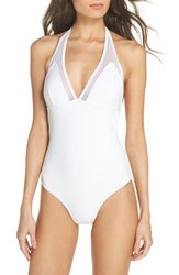 Ted Baker London Mesh Panel One Piece Swimsuit White