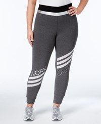 Material Girl Active Plus Size Striped Leggings Only At Macy's Charcoal Heather