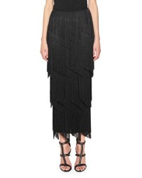 Tom Ford Tiered Fringe Maxi Skirt Black