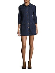 Minkpink Breaking Ties Fitted Shirt Dress Indigo
