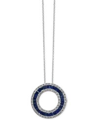Effy Royale Bleu By Sapphire 1 5 8 Ct. T.W. And Diamond 1 3 Ct. T.W. Circle Pendant Necklace In 14K White Gold Blue