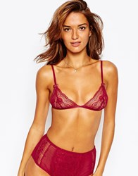 Asos Madison Lace Triangle Bra Red