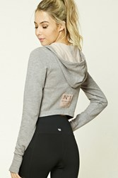 Forever 21 Active Heathered Fleece Hoodie Heather Grey Pink