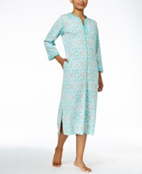 Miss Elaine Zip Front Printed Knit Robe Turquoise Print