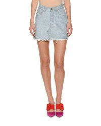 Attico Stone Washed Denim Skirt With Bonded Crystals Blue