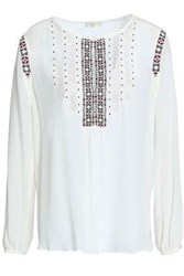 Soft Joie Embroidered Silk Blouse Ivory
