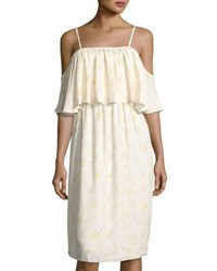 Bishop Young Lily Cold Shoulder Tiered Dress White Pattern