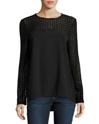 Kensie Long Sleeve Lace Yoke Crepe Blouse Black