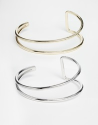 Oasis Curved Cuff Multipack Bracelet Mixedmetal