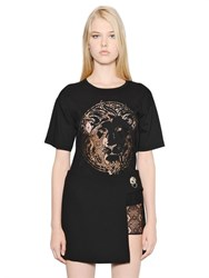 Versus Lace Lion Cotton Jersey T Shirt