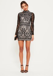 Missguided Black Lace Long Sleeve High Neck Bodycon Dress