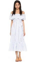 Lisa Marie Fernandez Mira Button Down Stripe Dress White Blue Stripe