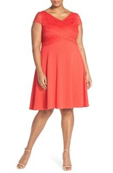 Plus Size Women's Sangria Pique Fit And Flare Dress With Lace Bodice