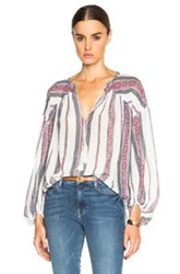 Derek Lam 10 Crosby Tapestry Gauze Blouse In White Stripes Red