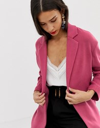 Stradivarius Jersey Throw On Coat Pink