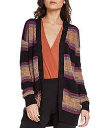 Bcbgeneration Marled Rainbow Striped Cardigan Black Combo