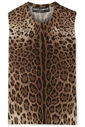 Dolce And Gabbana Leopard Print Wool Top Brown