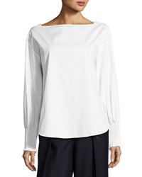 Cedric Charlier Cotton Poplin Smocked Cuff Blouse White