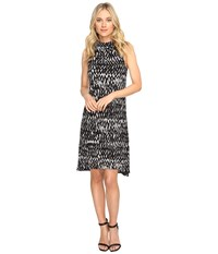 Kensie Painted Zigzag Dress Ks1k7927 Heather Grey Combo Women's Dress Black