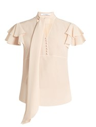 Givenchy Neck Tie Short Sleeved Silk Blouse Light Pink