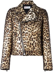 Red Valentino Leopard Print Biker Jacket Brown