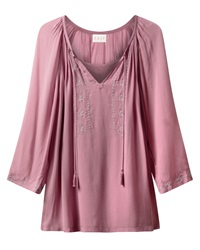 East Metallic Embroidered Tunic Pink